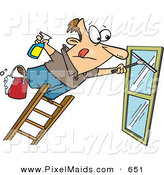 Clipart of a Window Cleaner Leaning Unsafely Far over a Ladder by Toonaday