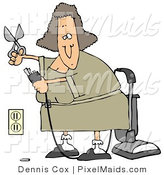 Clipart of a Woman Cutting the Ground Prong off of a Vacuum's Electrical Plug in Chord in Order to Get It to Fit into the Socket by Djart