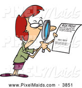 Clipart of a Woman Using a Magnifying Glass to Read the Fine Print on a Document, on White by Toonaday