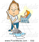 Clipart of a Woman Watching Tv While Her Exhausted Husband Mops the Floor by BNP Design Studio