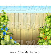 Clipart of a Wood Fence with a Chameleon and Vines by Graphics RF