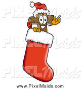 Clipart of a Wooden Cross Mascot Waving in a Christmas Stocking by Toons4Biz