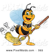 Clipart of a Worker Bee Character Mascot Sweeping the Floor by Toons4Biz