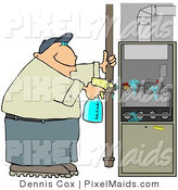 Clipart of a Worker Man Spraying a Cleaning Solvent on a Standard Household Furnace by Djart