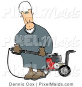 Clipart of a Worker Man with a Heavy Duty High Performance Gas Powered Water Pressure Washer by Djart