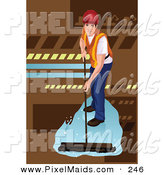 Clipart of a Worker Using a Push Broom to Clean a Spill by Mayawizard101
