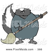 Clipart of a Working Black Skunk in Coveralls, Mopping up a Mess on a Floor by Djart