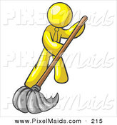 Clipart of a Yellow Businessman Wearing a Tie, Using a Mop While Mopping a Hard Floor to Clean up a Mess or Spill by Leo Blanchette