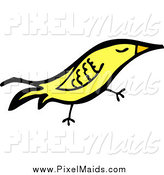 Clipart of a Yellow Happy Bird by Lineartestpilot