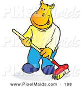 Clipart of a Yellow Hippopotamus Sweeping with a Push Broom by Snowy