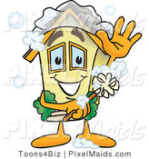 Clipart of a Yellow Home Mascot Character Scrubbing Itself with a Brush by Toons4Biz