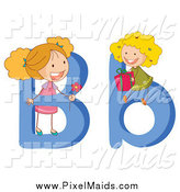 Clipart of Alphabet Girls and Letters B by Graphics RF