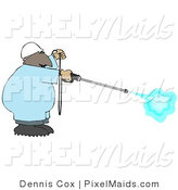 Clipart of an African American Professional Man Using a High Powered Water Pressure Washer by Djart