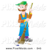 Clipart of an Airbrushed Man Sweeping a Floor with a Broom and Green Hat by Alex Bannykh
