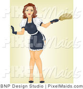 Clipart of an Attractive Retro Pinup Woman Maid Bending over by BNP Design Studio