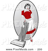 Clipart of an Attractive Retro Woman Vacuuming the House by R Formidable