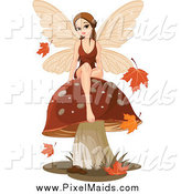 Clipart of an Autumn Fairy Sitting on a Mushroom by Pushkin