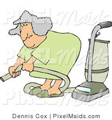 Clipart of an Elderly Woman Adjusting an Attachment on a Vacuum by Djart