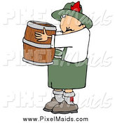 Clipart of an Oktoberfest Man Carrying a Wooden Beer Keg Barrel by Djart