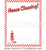 "Clipart of an Old Fashhioned Woman Vacuuming with a Canister Vacuum with Text Reading ""House Cleaning!"" Borderd by Red Checkers by Andy Nortnik"