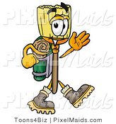 Clipart of an Outdoorsy Broom Mascot Cartoon Character Hiking and Carrying a Backpack by Toons4Biz
