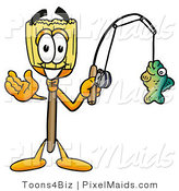 Clipart of an Outdoorsy Broom Mascot Cartoon Character Holding a Fish on a Fishing Pole by Toons4Biz