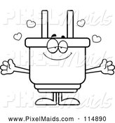 Clipart of an Outlined Loving Electric Plug Mascot Wanting a Hug by Cory Thoman