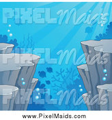 Clipart of an Underwater Ocean Background of Cliffs Corals and Fish by Visekart