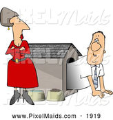 Clipart of an Upset Wife Watching Her Husband Crawl into the Doghouse by Djart