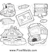 Clipart of Black and White School Items a Bus and Building by Visekart