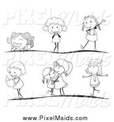 Clipart of Black and White Stick Children in Different Poses by Graphics RF