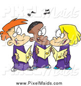 Clipart of Cartoon Happy Singing Kids in a Choir by Toonaday
