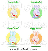 Clipart of Colorful Rabbits with Happy Easter Greetings by Hit Toon