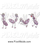 Clipart of Cute Mosquitos by Graphics RF
