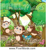 Clipart of Happy Monkeys Playing in the Woods by Graphics RF