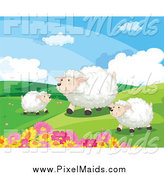 Clipart of Happy Sheep in a Hilly Landscape by Graphics RF