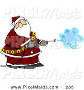 March 22nd, 2013: Clipart of Kris Kringle Operating a Pressure Washer on White by Djart