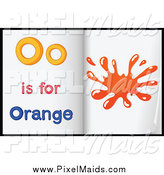 Clipart of Letter O Is for Orange Alphabet Learning Book Pages by Graphics RF