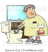 Clipart of Maid Cleaning Toilet with Scrub Brush and Comet by Djart