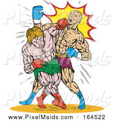 Clipart of Male Boxers Throwing Punches by Patrimonio