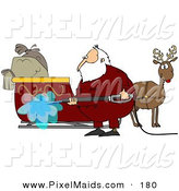 Clipart of Santa Claus Spraying down His Sleigh with a Pressure Washer by Djart