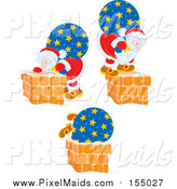 Clipart of Scenes of Santa and His Bag by Chimneys by Alex Bannykh