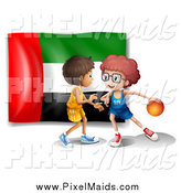 Clipart of Two Boys Playing Basketball over a United Arab Emirates Flag by Graphics RF