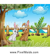March 13th, 2014: Clipart of White and Brown Bunny Rabbits Under a Tree by Graphics RF