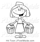 Vector Clipart of a Black and White Milk Maid by Hit Toon