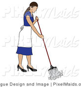 Vector Clipart of a Brunette Maid Mopping by Pams Clipart