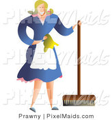 Vector Clipart of a Happy Housewife or Maid in Uniform Using a Push Broom by Prawny