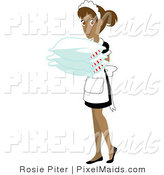 Vector Clipart of a Hispanic Maid Holding Pillows by Rosie Piter