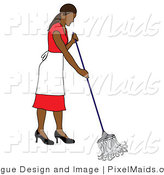 Vector Clipart of a Hispanic Maid Mopping by Pams Clipart