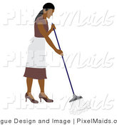 Vector Clipart of a Latin American Maid Mopping by Pams Clipart